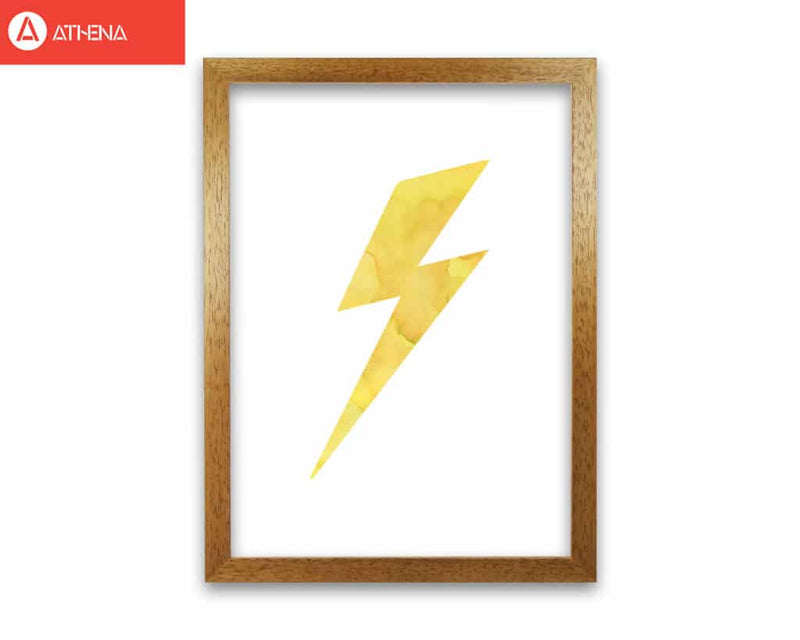 Yellow thunderbolt watercolour modern fine art print
