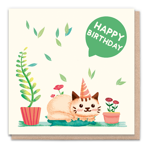 1 Tree Card 100% Recycled Greeting Card Vegan Inks - Happy Birthday Cat