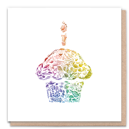 1 Tree Card 100% Recycled Greeting Card Vegan Inks - Rainbow Cupcake