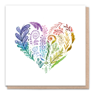 1 Tree Card 100% Recycled Greeting Card Vegan Inks - Rainbow Heart
