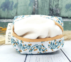 Cotton Tissue Pouch with Organic Brushed Cotton Handkerchiefs. Petal Dots. Vera-Bee Studio. Handmade.