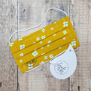 Load image into Gallery viewer, Organic Cotton Reusable Face Mask - Yellow Daisy Medium (Women & Teens)