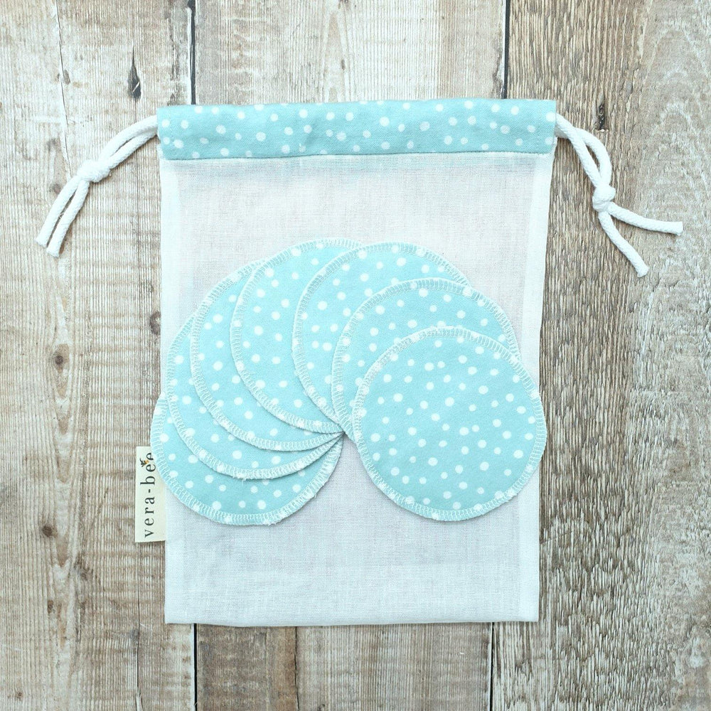 Load image into Gallery viewer, Organic Cotton Pads, Face Flannels & Muslin Wash Bag Set Pale Blue Dot - Vera-Bee