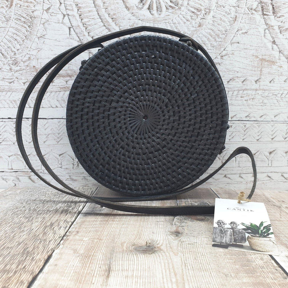Bali Round Bag in Black - Rattan & Vegan Leather