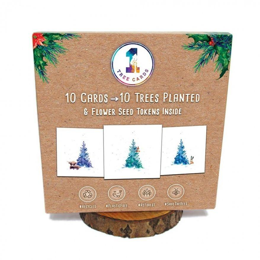 10 Recycled Christmas Cards with Flower Seeds - 10 Trees Planted