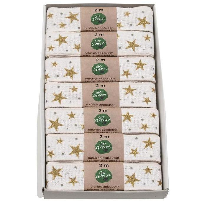Gold & White Stars Cotton Ribbon 25mm - Go Green