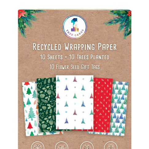 Christmas Wrapping Paper Pack with Flower Seed Tags - 10 Trees Planted