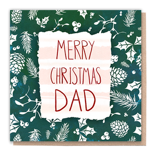 1 Tree Card 100% Recycled Greeting Card Vegan Inks - Merry Christmas Dad