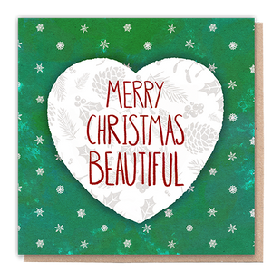 1 Tree Card 100% Recycled Greeting Card Vegan Inks - Merry Christmas Beautiful