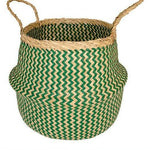 Sea Grass Traditional Basket - Green & Natural