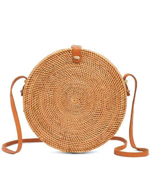 Bali Round Bag - Rattan & Vegan Leather