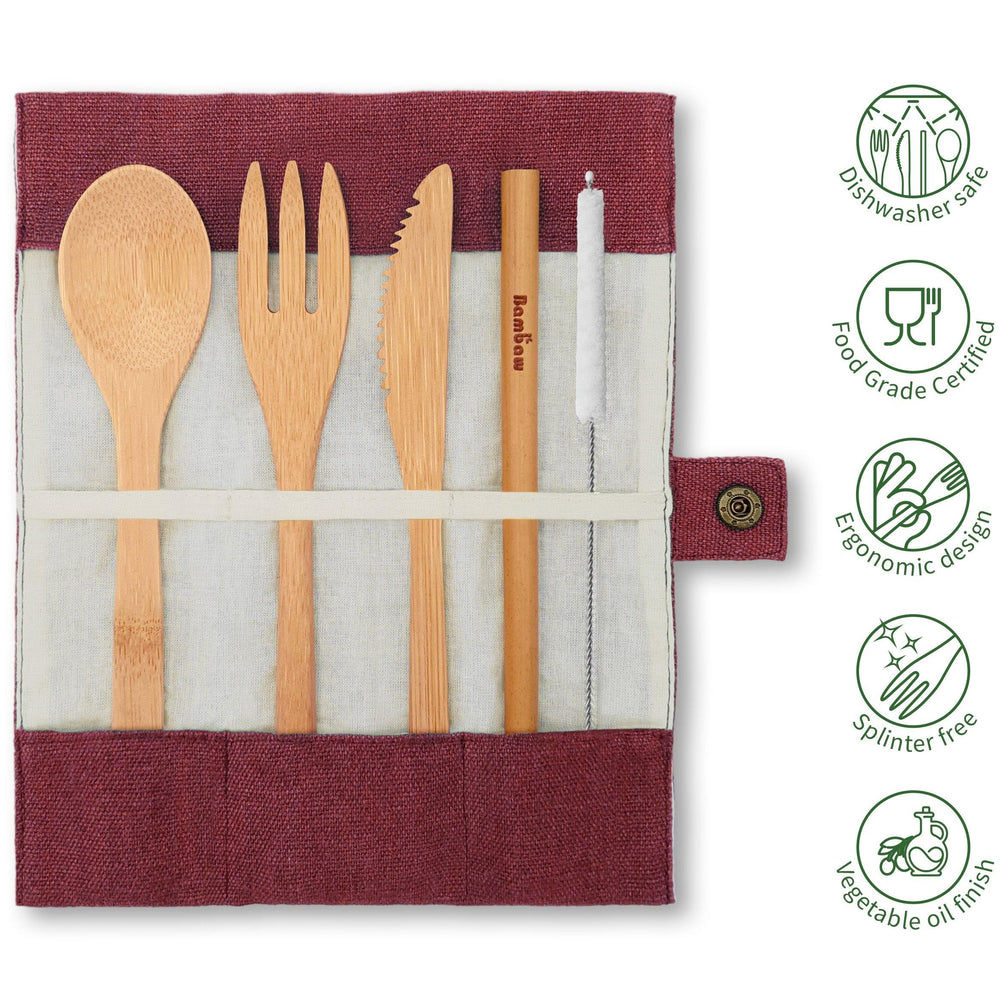 Bamboo Cutlery Set in Berry Jute Pouch - Vera-Bee Limited