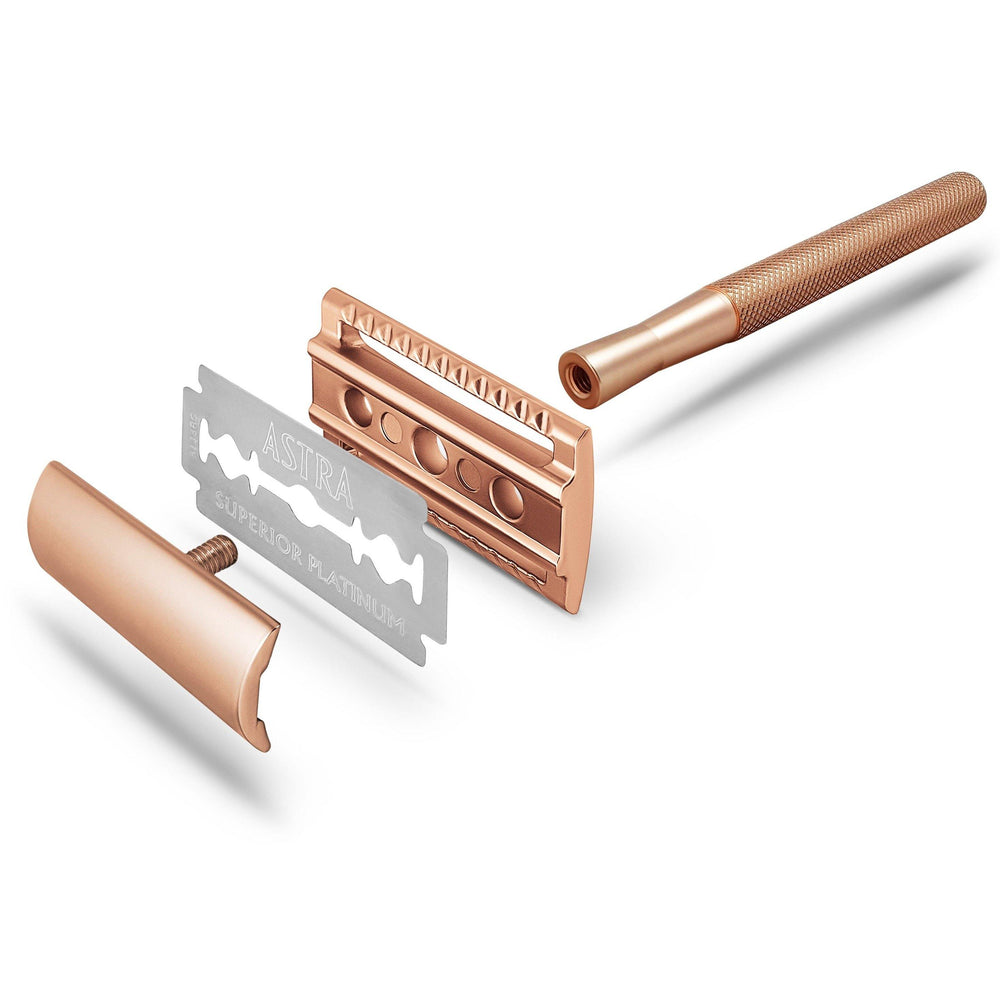 Rose Gold Metal Safety Razor Reusable - Bambaw