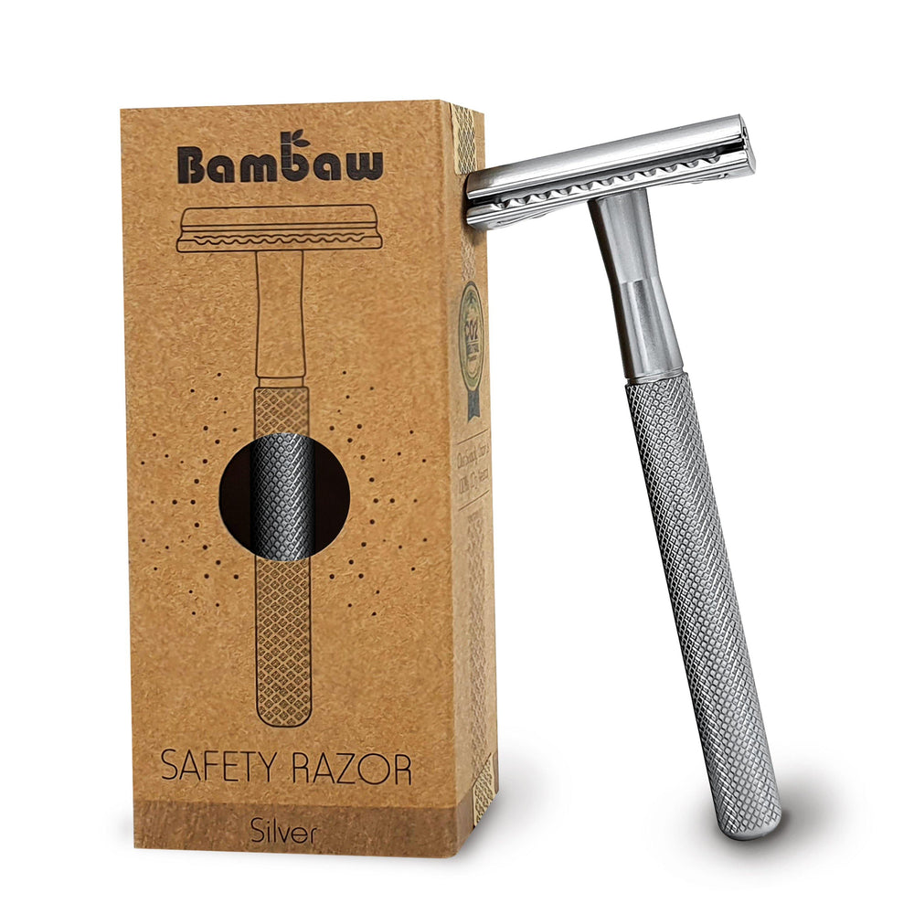 Load image into Gallery viewer, Silver Metal Safety Razor Reusable - Bambaw