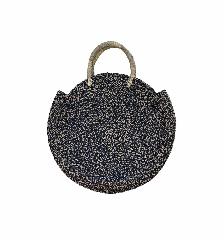 Basket Bag in Natural & Black- Seagrass