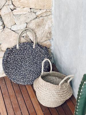 Load image into Gallery viewer, Basket Bag in Natural & Black- Seagrass - Vera-Bee Limited