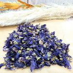 Blue Malva Dried Flowers - DIY Purple Hair Rinse for Blonde Hair