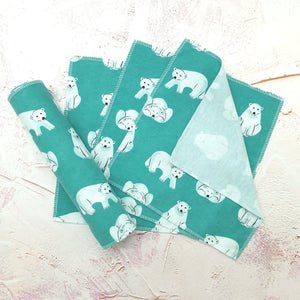 Load image into Gallery viewer, Eco-friendly Unpaper Wipes Organic Cotton Polar Bears - Vera-Bee