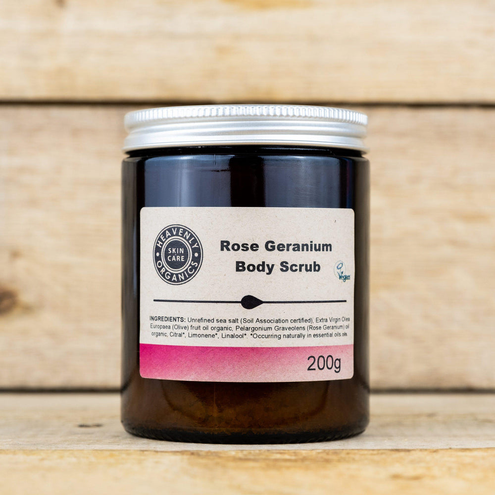 Organic Rose Geranium Body Scrub – Heavenly Organics