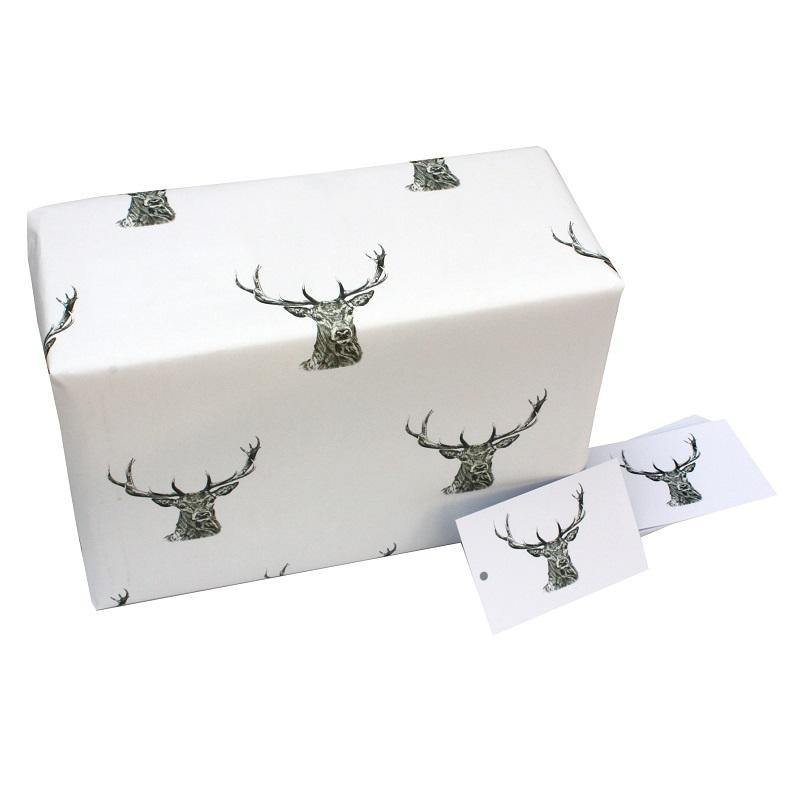 Eco-friendly Recycled Christmas Wrapping Paper - Black & White Stags