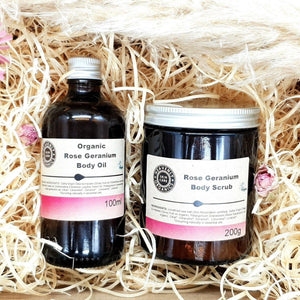 Organic Rose Geranium Body Scrub & Oil Gift Set – Heavenly Organics