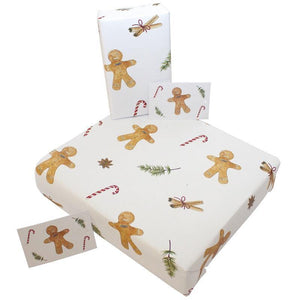 Load image into Gallery viewer, Eco-friendly Recycled Christmas Wrapping Paper - Gingerbread Men