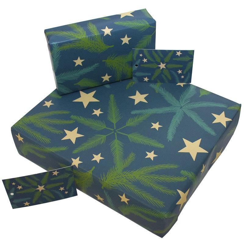 Eco-friendly Recycled Christmas Wrapping Paper - Pine Needles