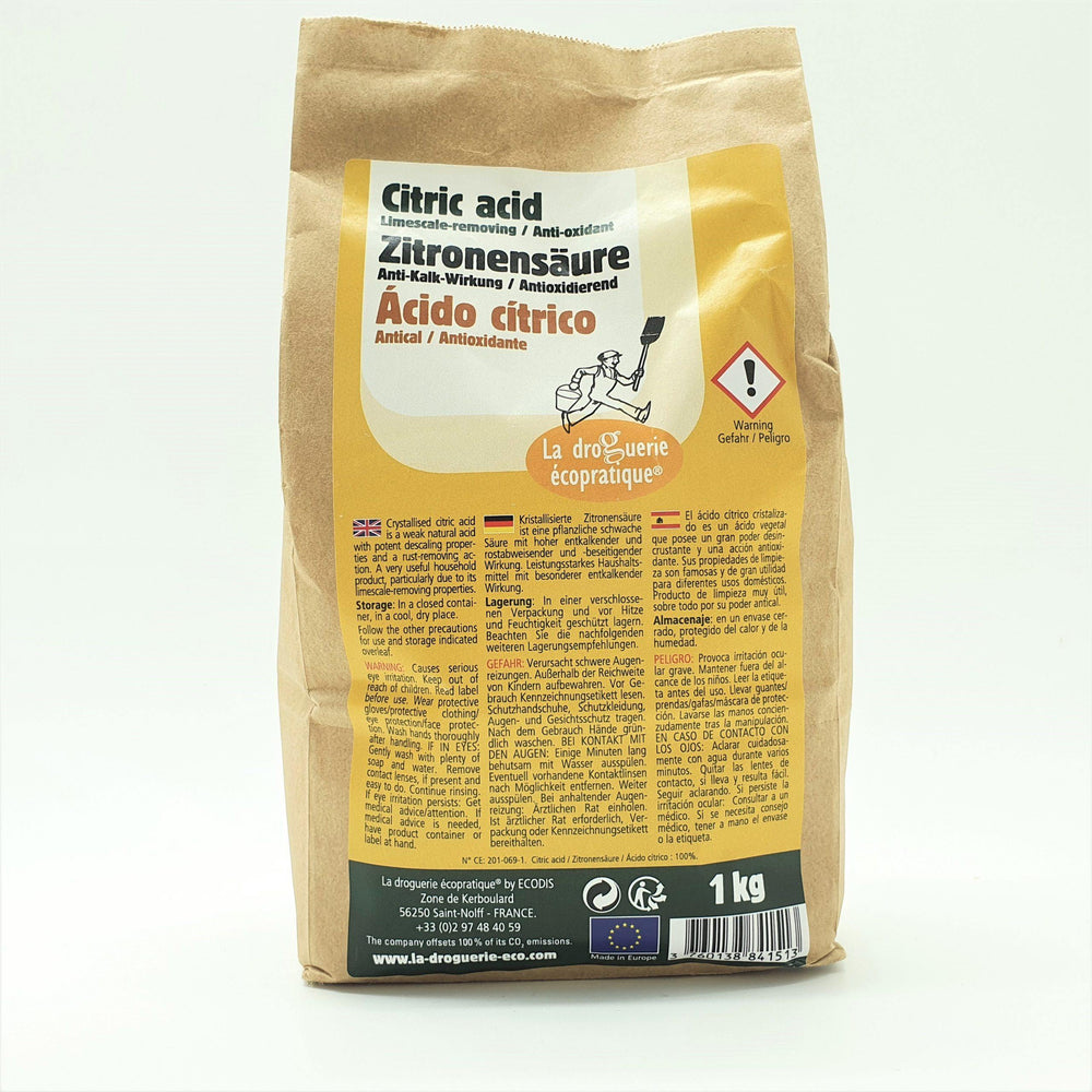 Food Grade Citric Acid - 1kg Kraft Bag