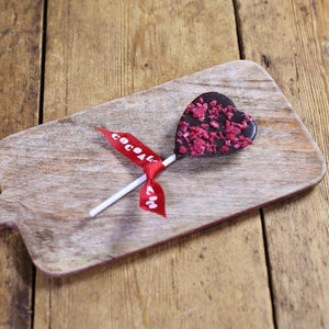 Load image into Gallery viewer, Cocoa Loco Organic Dark Chocolate & Raspberry Heart Lolly