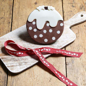Load image into Gallery viewer, Cocoa Loco Organic Milk & White Chocolate Christmas Pudding - 70g