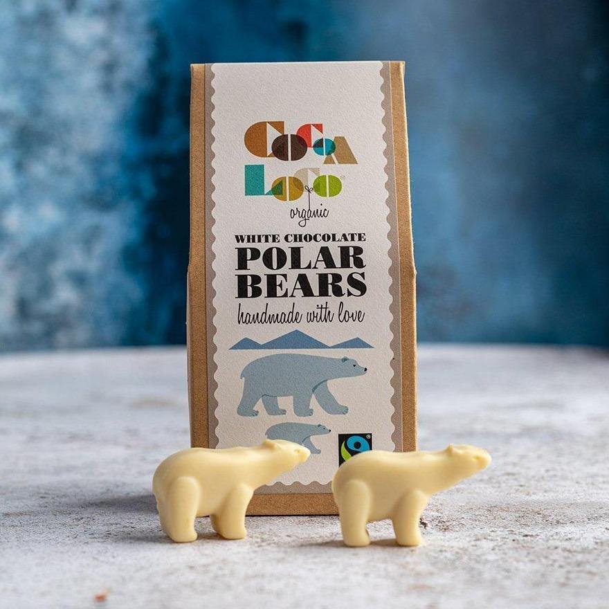 Cocoa Loco Organic White Chocolate Polar Bears - 100g