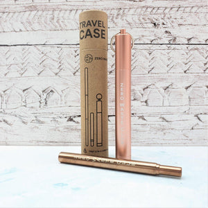Collapsible Metal Straw & Travel Case - Rose Gold - Vera-Bee Limited