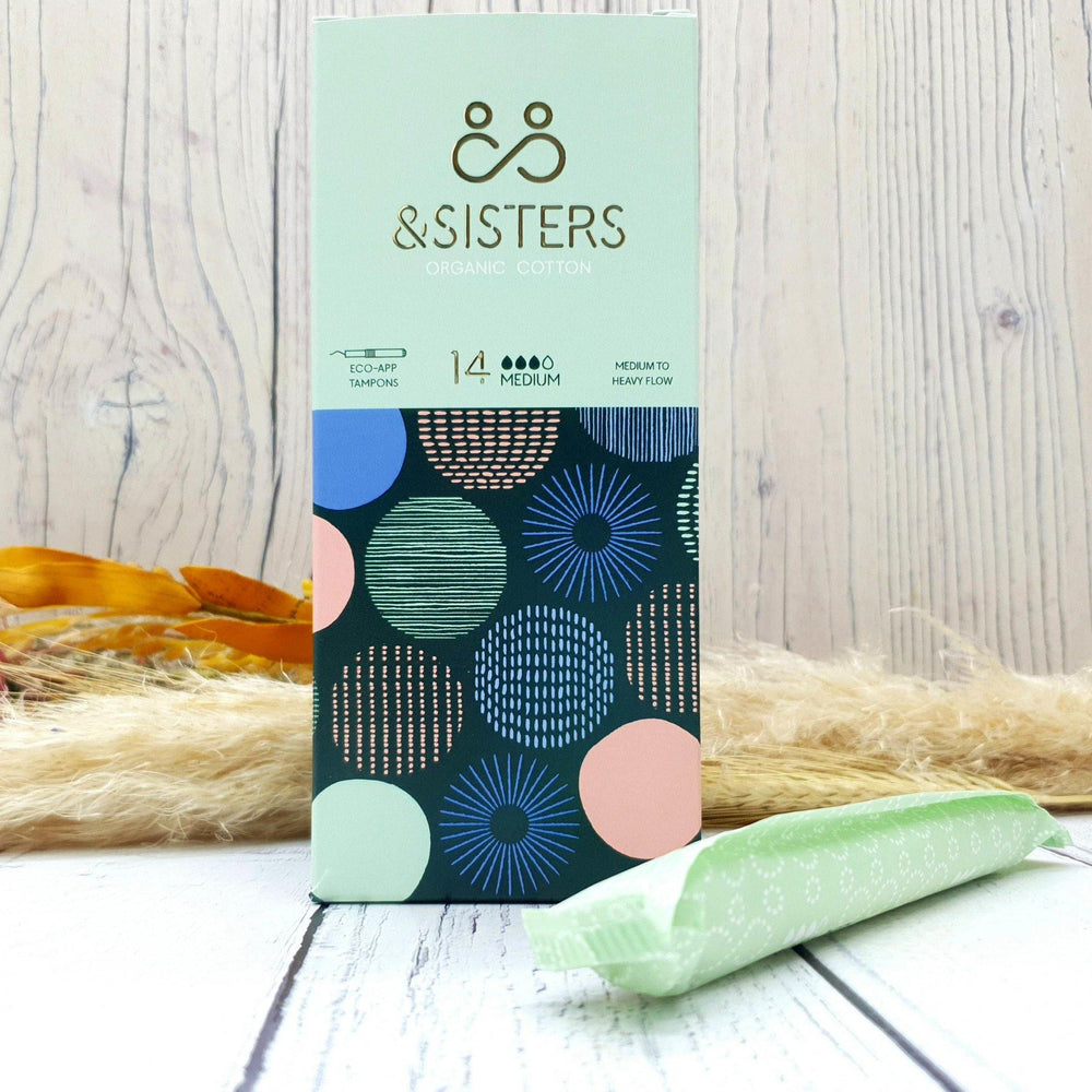 Eco-App Tampons. 14 Medium. Plastic Free Period. &Sisters. Vera-Bee. Organic Cotton.