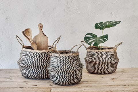 Ekuri Sea Grass Traditional Basket - Black & Natural