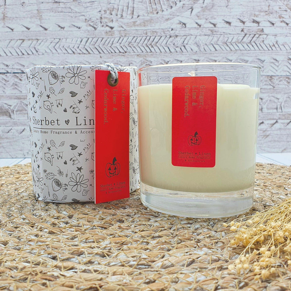 Ginger, Lime & Cedarwood Pure Essential Oil Soy Wax Candle - Sherbet Linen - Vera-Bee Limited