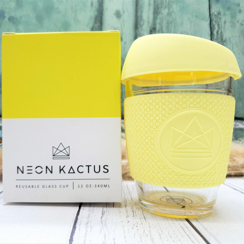 Reusable Eco Glass Coffee Travel Cup Yellow - Neon Kactus