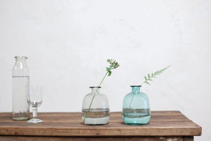 Glass Vase Handmade & Recycled in Teal - Nkuku