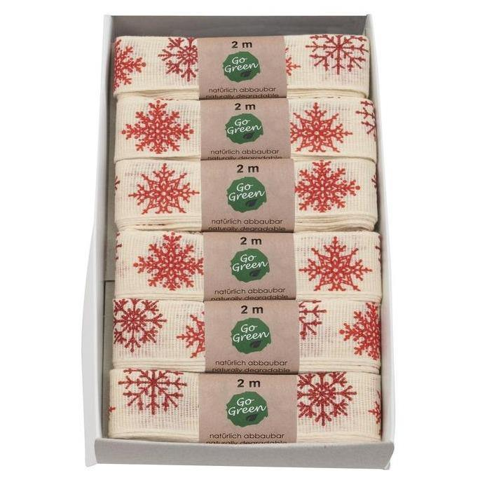 Cream & Red Snowflakes Cotton Ribbon 25mm - Go Green - Vera-Bee Limited