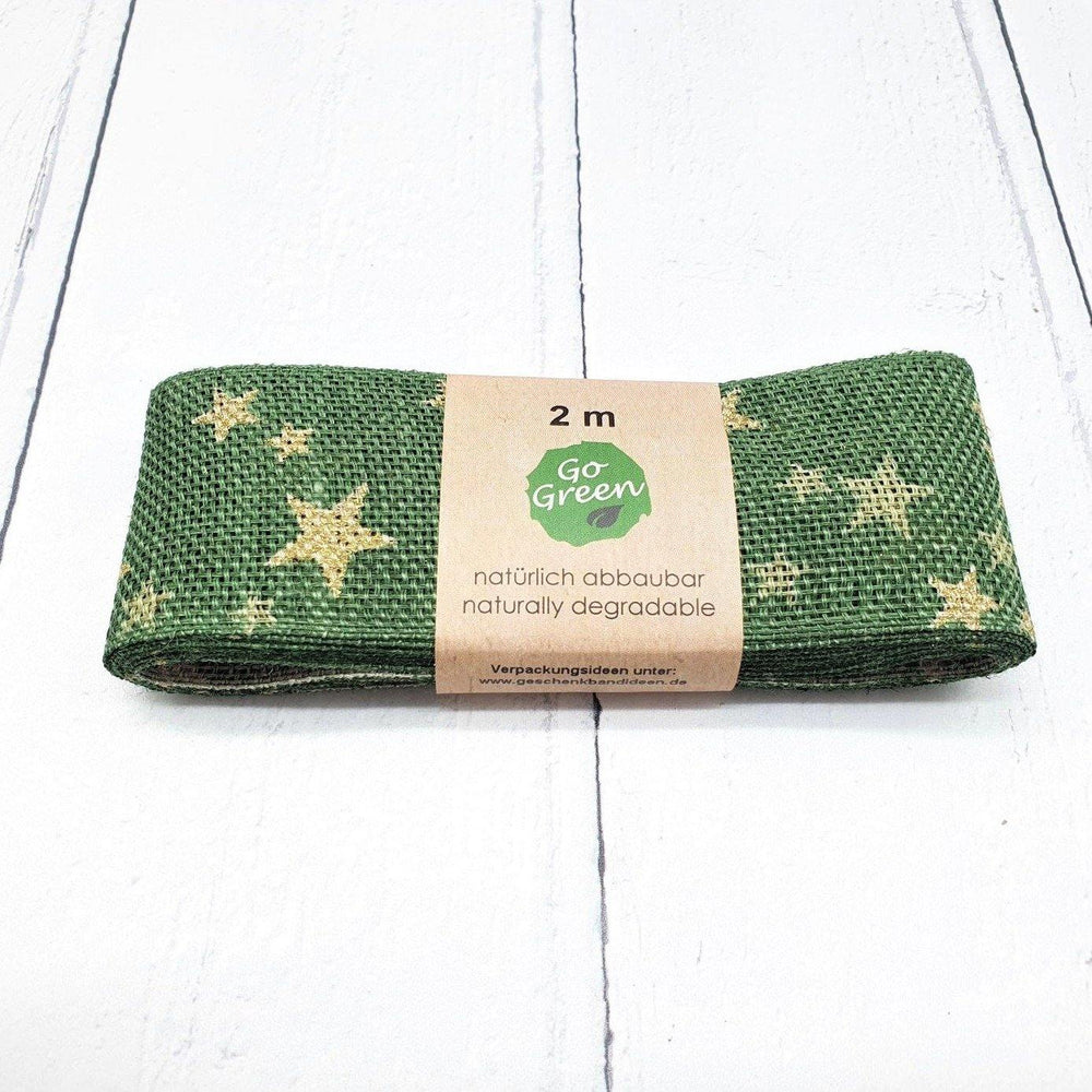 Green Ribbon with Gold Stars 40mm - Go Green
