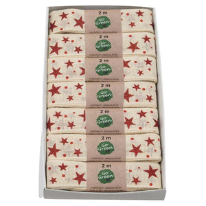 Load image into Gallery viewer, Cream & Red Stars Cotton Ribbon 25mm - Go Green