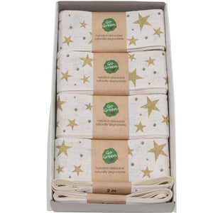 Gold & White Stars Cotton Ribbon 40mm - Go Green