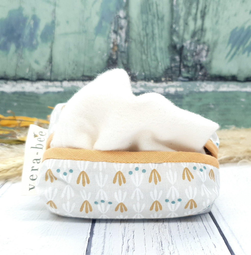 Cotton Tissue Pouch with Organic Brushed Cotton Handkerchiefs. Grey Seed Pods. Vera-Bee Studio. Handmade.