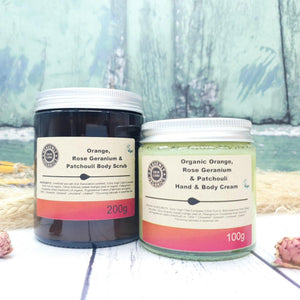Load image into Gallery viewer, Organic Sweet Orange, Rose Geranium & Patchouli Body Gift Set – Heavenly Organics