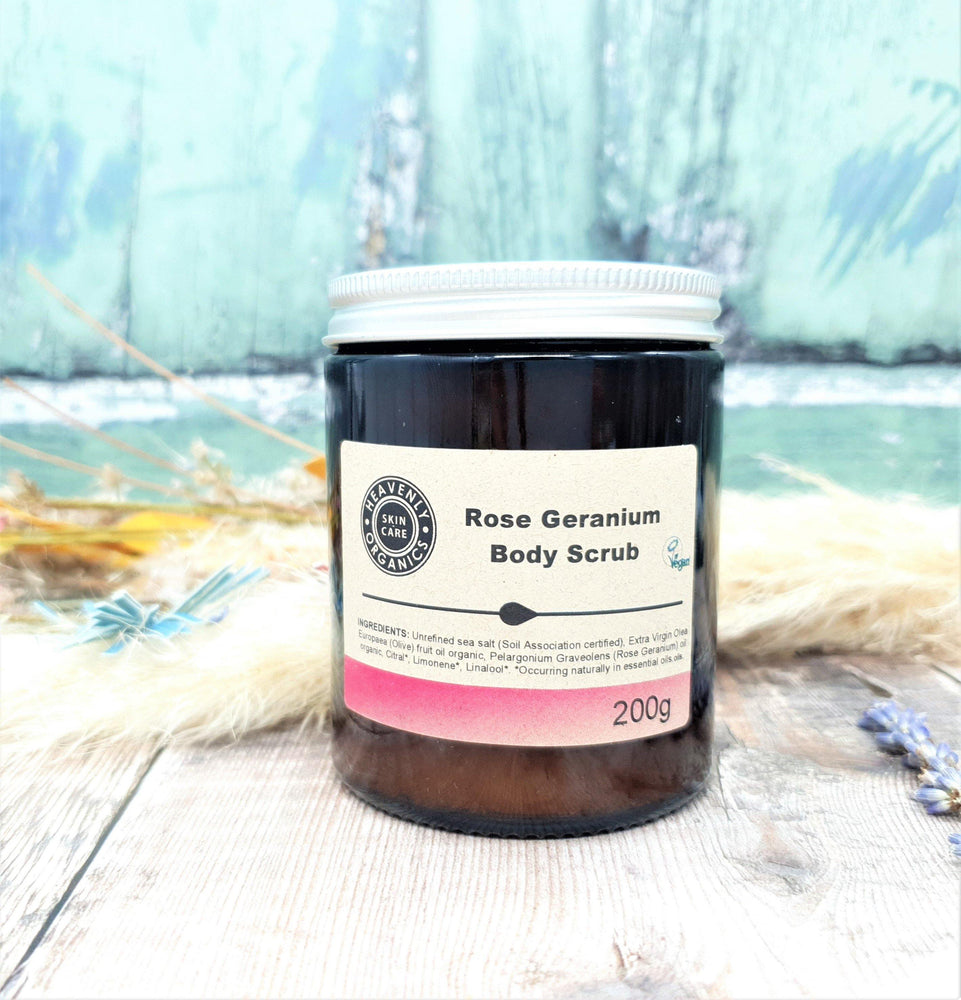 Load image into Gallery viewer, Organic Rose Geranium Body Scrub & Oil Gift Set – Heavenly Organics - Vera-Bee Limited