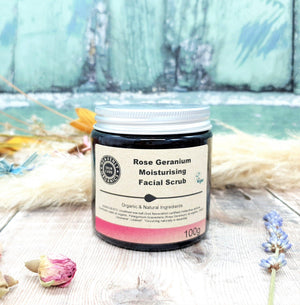 Load image into Gallery viewer, Organic Rose Geranium Face Scrub & Oil Gift Set - All Skin Types