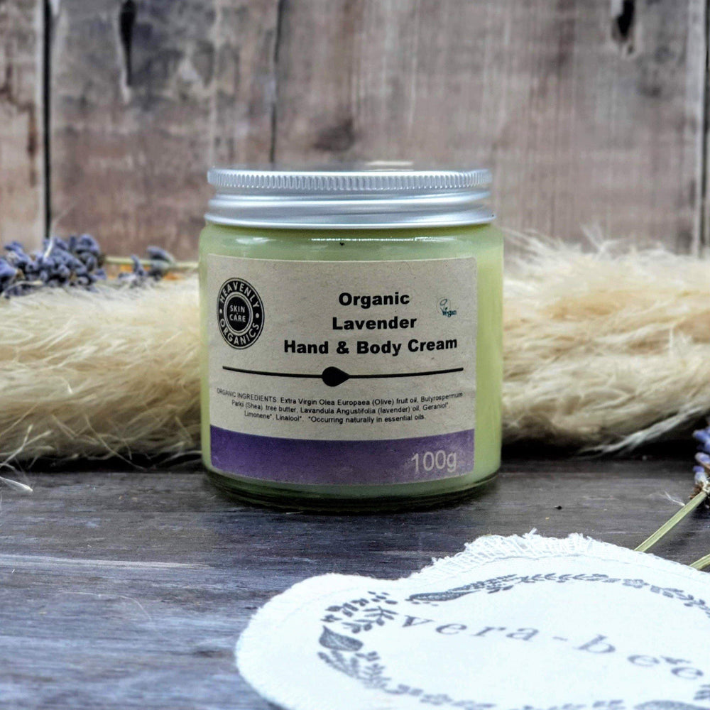 Load image into Gallery viewer, Organic Lavender Hand & Body Cream. Vera-Bee. heavenly Organics. handmade. Organic. Natural. Vegan. Plastic-Free.