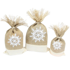 Hessian Snowflake Gift Pouch - Set of 3