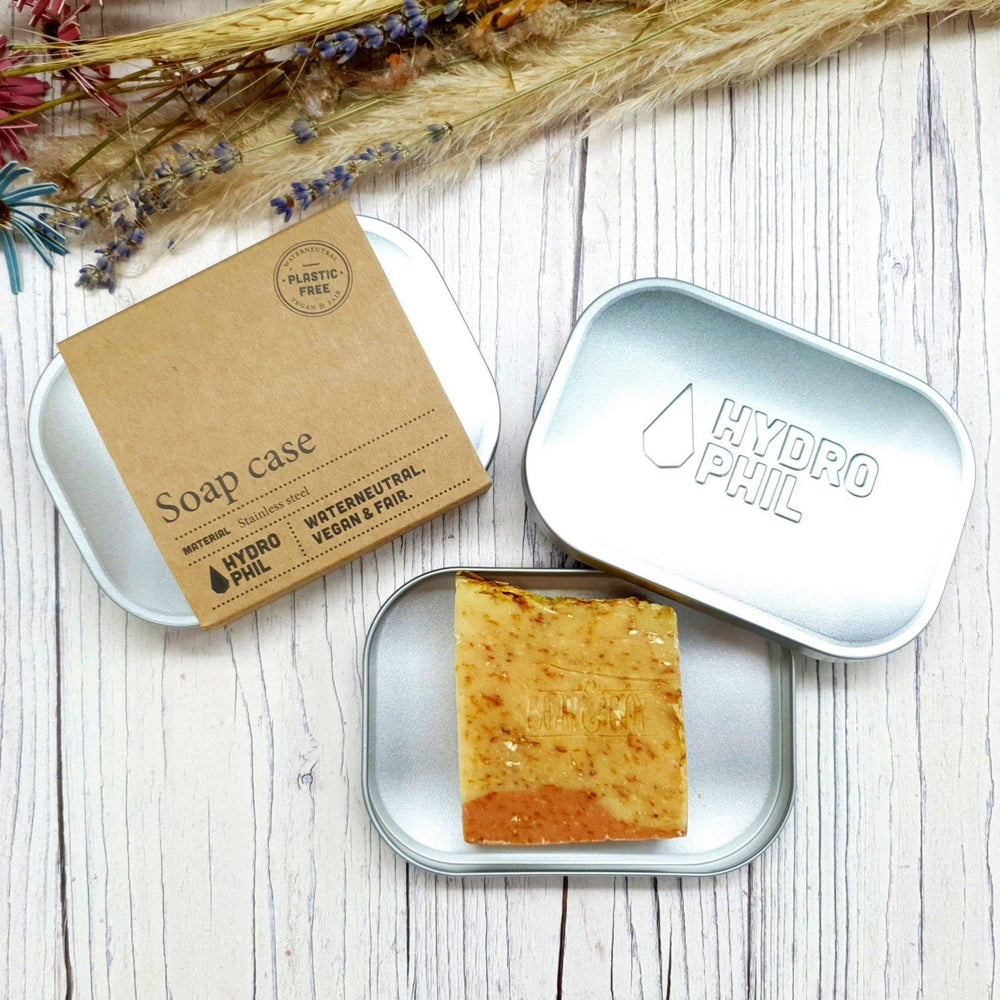 Soap Case. Stainless Steel. Plastic Free. Vegan. Water Neutral. Hydrophil. Vera-Bee.