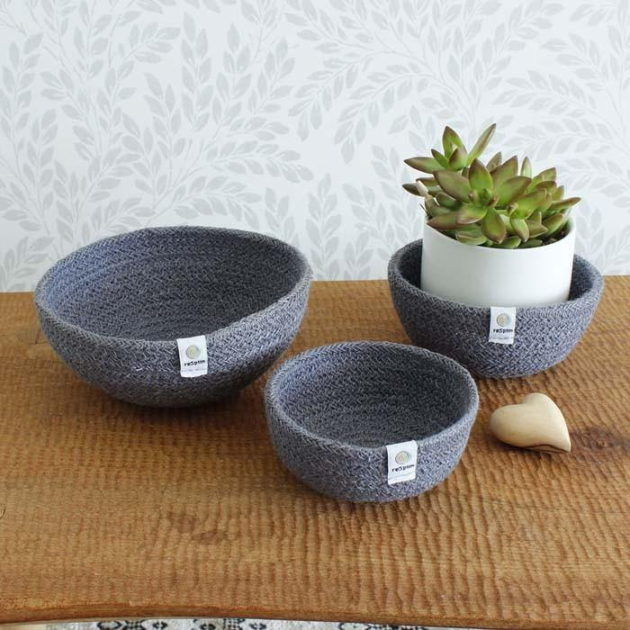 Jute Mini Bowl Set Blue Grey - Respiin