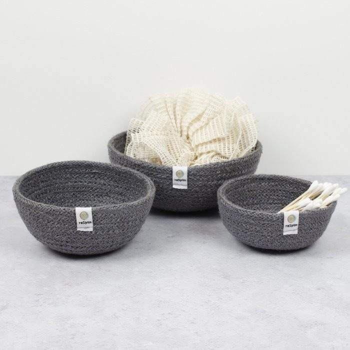 Load image into Gallery viewer, Jute Mini Bowl Set Blue Grey - Respiin